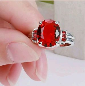 Jewelry - Red 18k white gold filled ring size 7